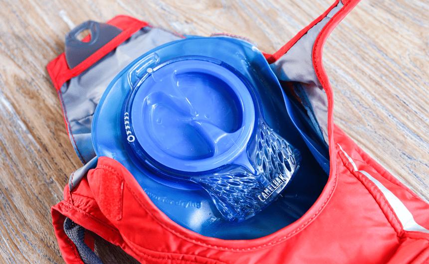 Trinkblase im Inneren des Trickrucksacks von Camelbak