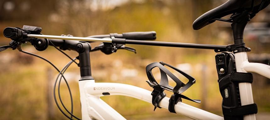 Fahrradmontageständer CXWXC Test – Teleskopstange um den Lenker zu befestingen