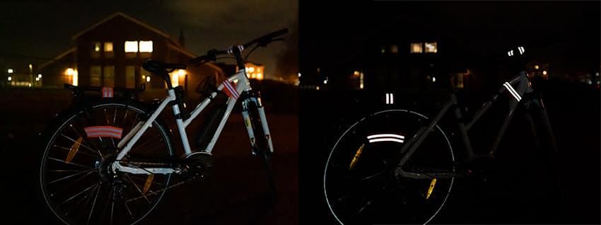 Fahrrad Reflektorband im Licht