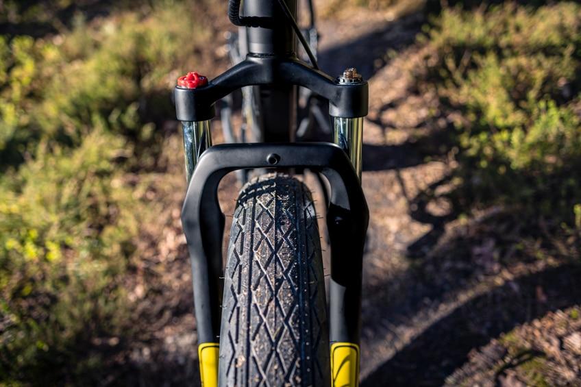 Federgabel beim Jeep Mountain FAT E-Bike MHFR 7100 Test