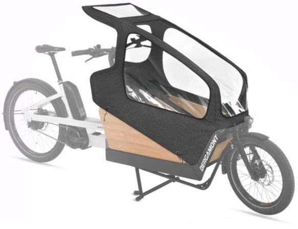 Lasten E-Bike Test mitviel Zubehör. Das E-Cargoville LJ 70 ist sehr variabel