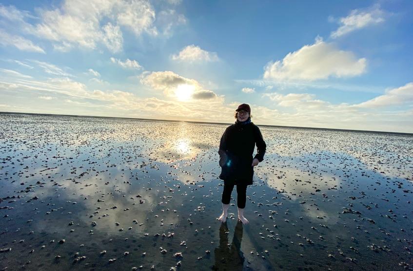 Das offene Meer in Cuxhaven sieht wunderschön aus am Ende des Weserradwegs